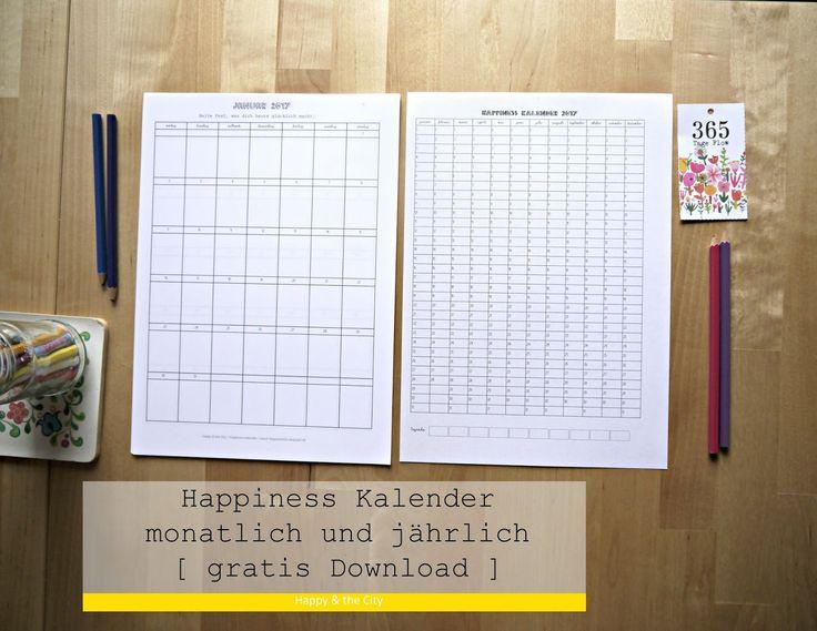 Gratis Download halte dein Glück 2017 fest mit dem Happiness Kalender ( free printable )