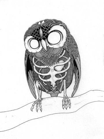 owl-skull design for tattoo