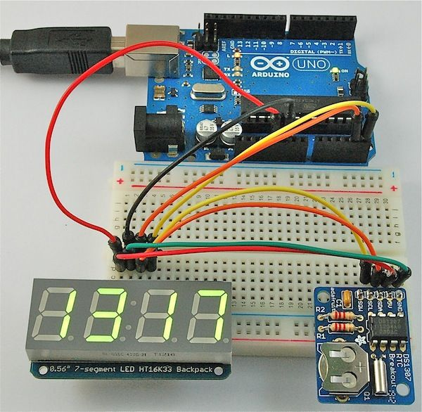 """In this review, I thought I would combine Adafruit's 0.56"""" 7-segment LED backpack and display and their DS1307 RTC (Real Time Clock) board..."""