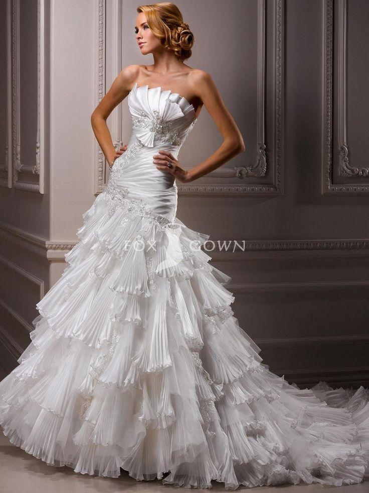 Schulterfreies Brautkleid mit Organza und Tüll plissierten Rüschen Rock sank Taille $526.35 Hochzeitskleider