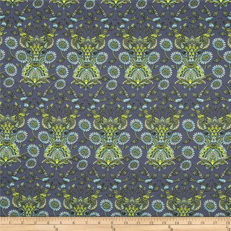 Tula Pink Moon Shine Deer Me Indigo from @fabricdotcom  Designed by Tula Pink for Free Spirit, this cotton print is perfect for quilting, apparel and home decor accents.  Colors include white, black, lime, citron, blue and slate blue-grey.