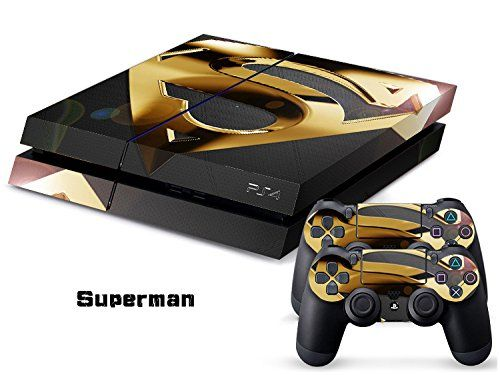 Superman Full Body Decal Skin Sticker Set for Playstation PS 4 PS4 Console+Controllers #0196