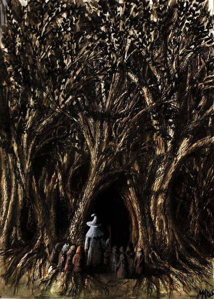 8)Het Demsterwold, the dwergen en Bilbo betreden het woud zonder Gandalf. In het woud was het pikzwart, donkerder dan wat dan ook. In deze absolute duisternis werd de groep aangevallen door gigantische spinnen, maar het lukte Bilbo om de dwergen te redden. Vervolgens werden ze gevangen genomen door de Woud-Elven, die in het bos woonden. Het waren echter enkel de dwergen die gevangen genomen werden en Bilbo bedacht een plan om ze te redden en ze ontsnapten aan de Elven het zwarte Demsterwold.
