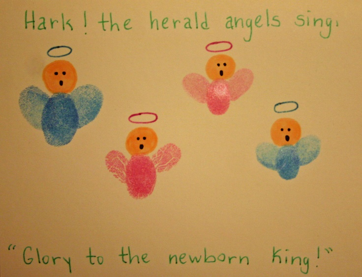 """Thumbprint Christmas card  And the angel said to them, """"Fear not, for behold, I bring you good news of great joy that will be for all the people. Luke 2:10   For unto you is born this day in the city of David a Savior, who is Christ the Lord. Luke 2:11"""