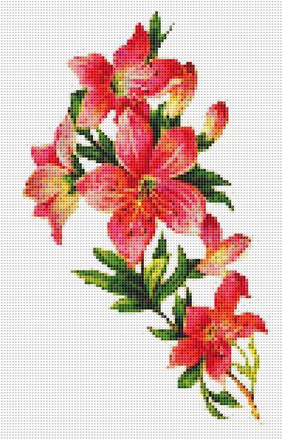 Victorian Pink Lily Bouquet Cross Stitch Pattern Flower Floral Wall Art