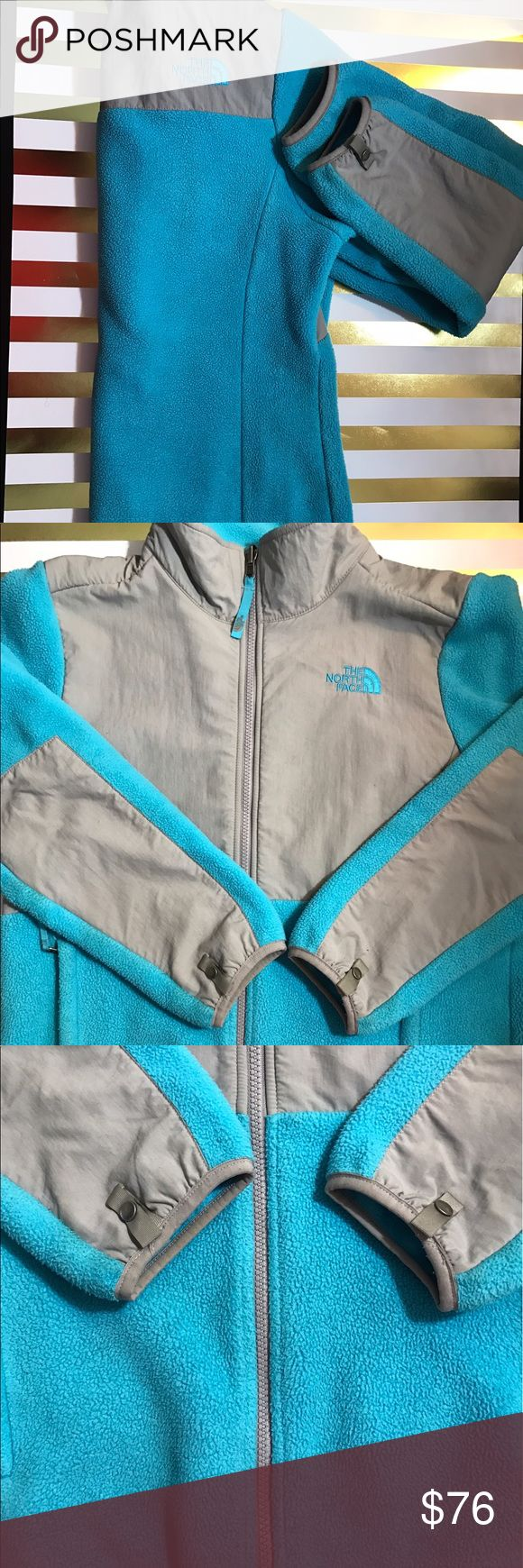 Authentic Blue North Face Jacket This light blue , soft and cozy , authentic North Face jacket , was worn a few times . There are two zipper pockets on the side . This is a girls XL , but it fits me perfectly . I normally wear a small or medium in women's . North Face Jackets & Coats
