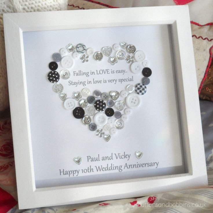 personalised heart anniversary engagement button print love is special picture gift framed by buttonsandbobbinsuk