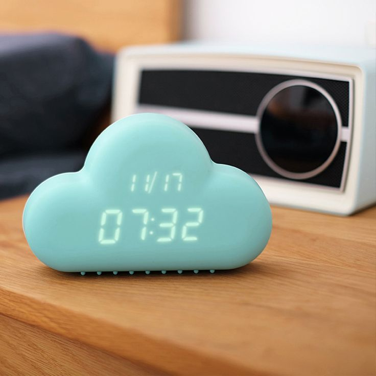 Cute Cyan Cloud Shape Sound Control Alarm Clock w/Snooze Function