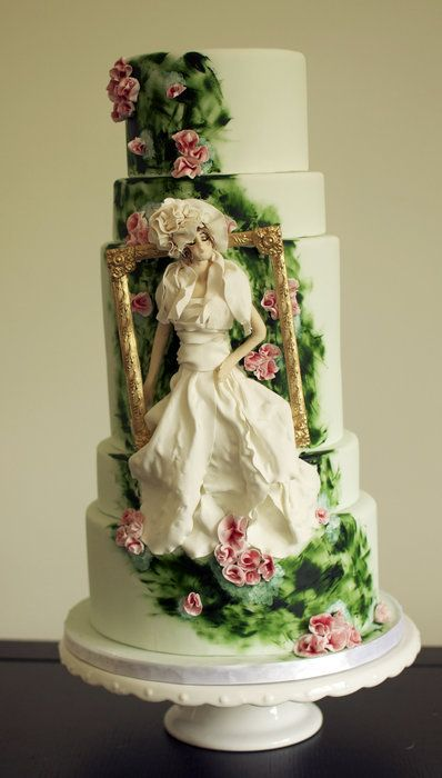 Modern Baroque art garden wedding cake.  I just thought that this was plainly impressive, a great idea to modify. I'm sure I'd do a black cake with a vampiresque night scene