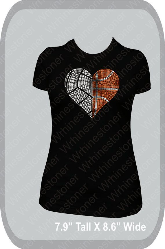 Volleyball and Basketball Rhinestone Heart Women's by Wrhinestoner, $25.00