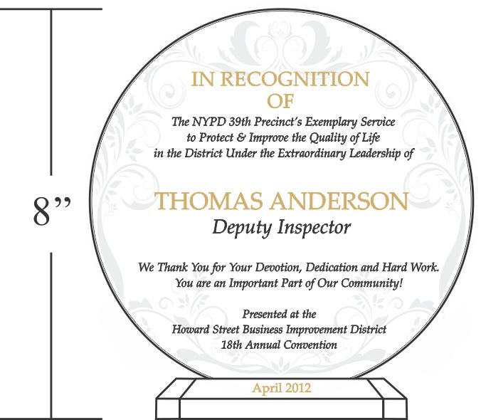 Sample designs wordings a collection of ideas to try for Plaque of appreciation template