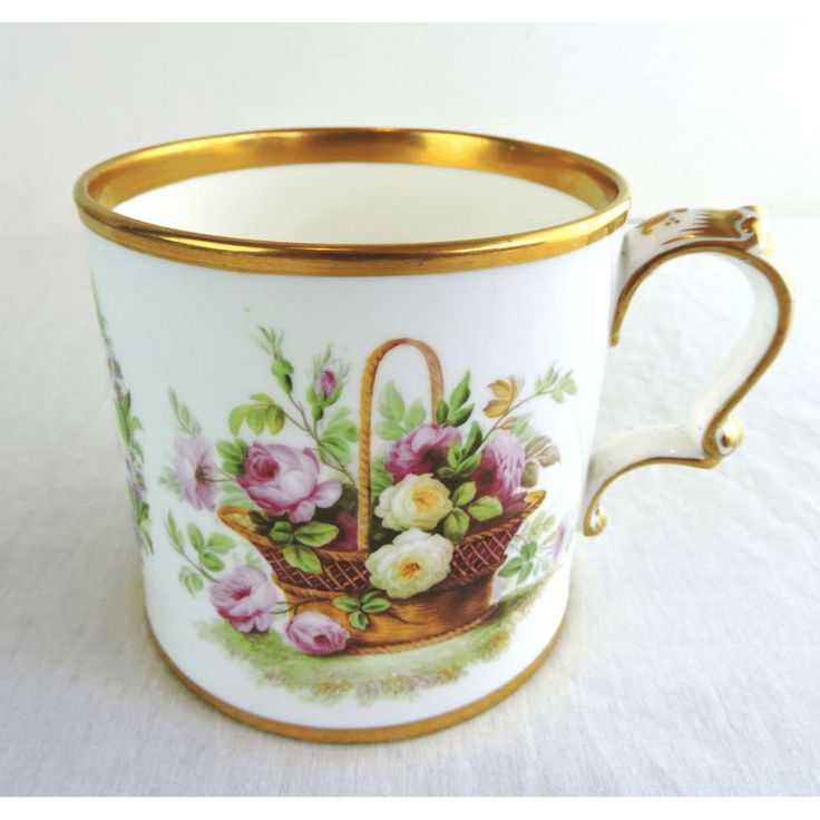 "Beautifully Hand Painted Porcelain ""Memorial"" Cup Dated 1854 - Possibly Worcester - Memorial For John Greaves- Born FEB 25,1854 - Basket of Roses, Gold Gilt"