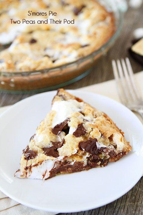 S'mores Pie Recipe on twopeasandtheirpod.com