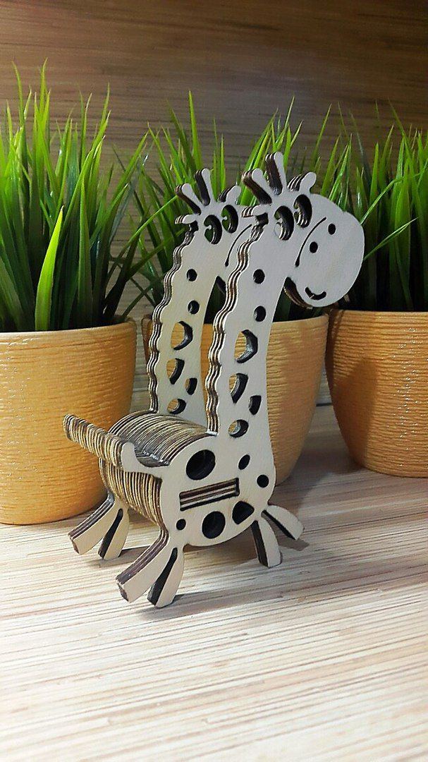 Laser Cut Giraffe Phone Stand DXF File Free Download | Laser