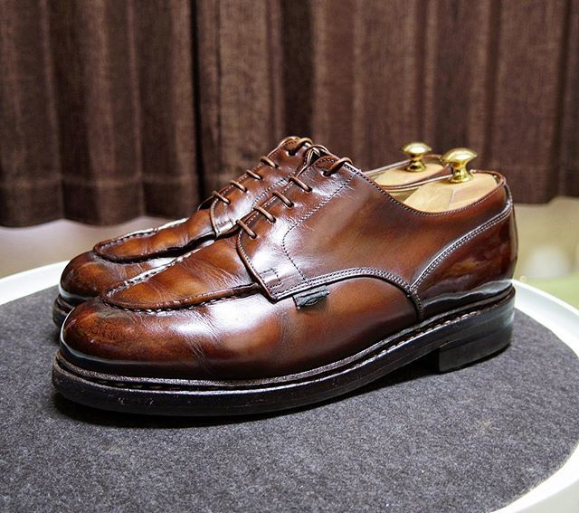 Paraboot サフィール クレムのパリジャンブラウンを使ってみました やっぱり赤味が強く残りますね #paraboot #parabootchambord #shoes #mensshoes #shoecare #パラブーツ #パラブーツシャンボード #紳士靴 #革靴 #靴磨き #シューケア