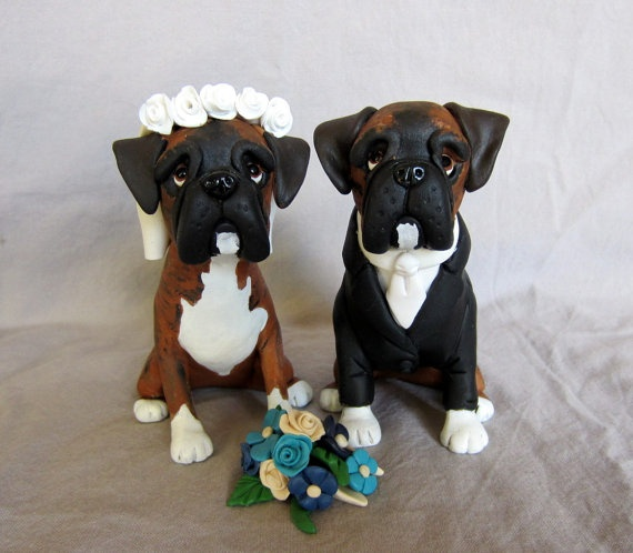wedding cake topper cat and dog custom pet cake topper boxers michigan made 26306