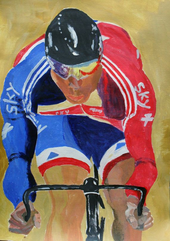 Sir Chris Hoy Original Acrylic Painting by JulianLovegroveArt, £60.00