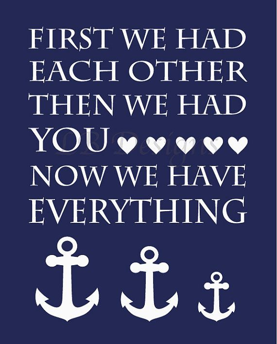 Navy Blue and White Anchor Family Nursery/Boy's Room Quote Print - 8x10 on Etsy, $10.00 Nautical nursery, whale nursery, nautical bedroom, whale nursery decor, anchor decor, nursery decor, nursery prints, nursery art