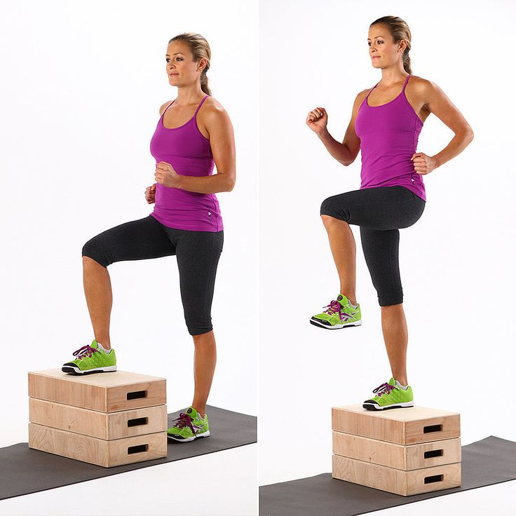 """Gravity happens. And it can affect your backside. But you can fight gravity and strengthen your glutes with the simple step-up. Celeb trainer Valerie Waters recommends this functional exercise """"if you have a flat or droopy butt and you need to pick it up."""""""