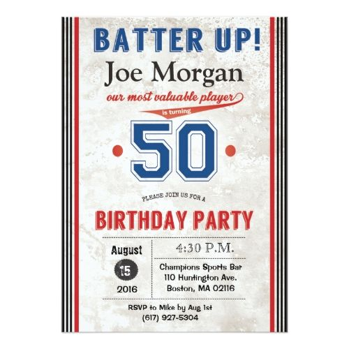 123 best sports birthday invitations images on pinterest birthday baseball sports 50th birthday invitation stopboris Image collections
