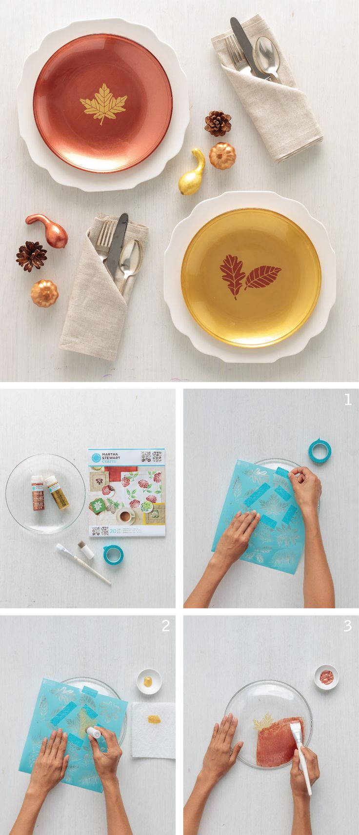 Clear glass plates for crafts - Leaf Stenciled Charger Plates