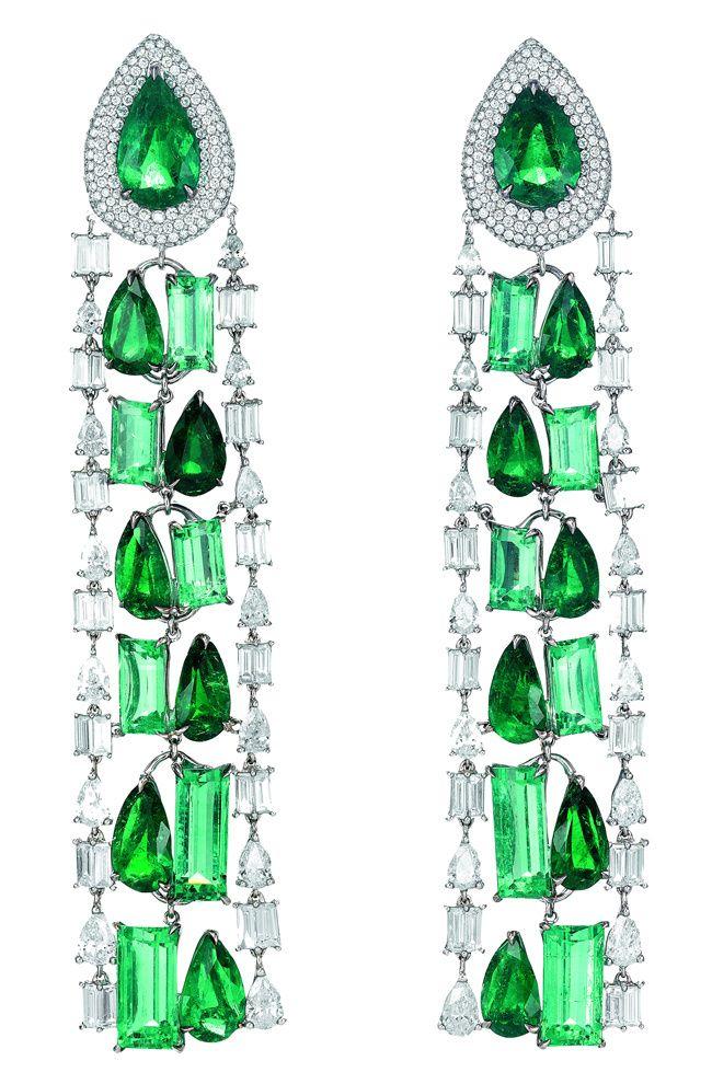 Pendientes de esmeraldas y diamantes de Chopard