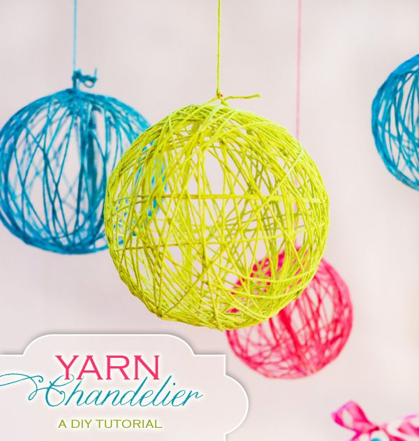 DIY yarn ball chandelier
