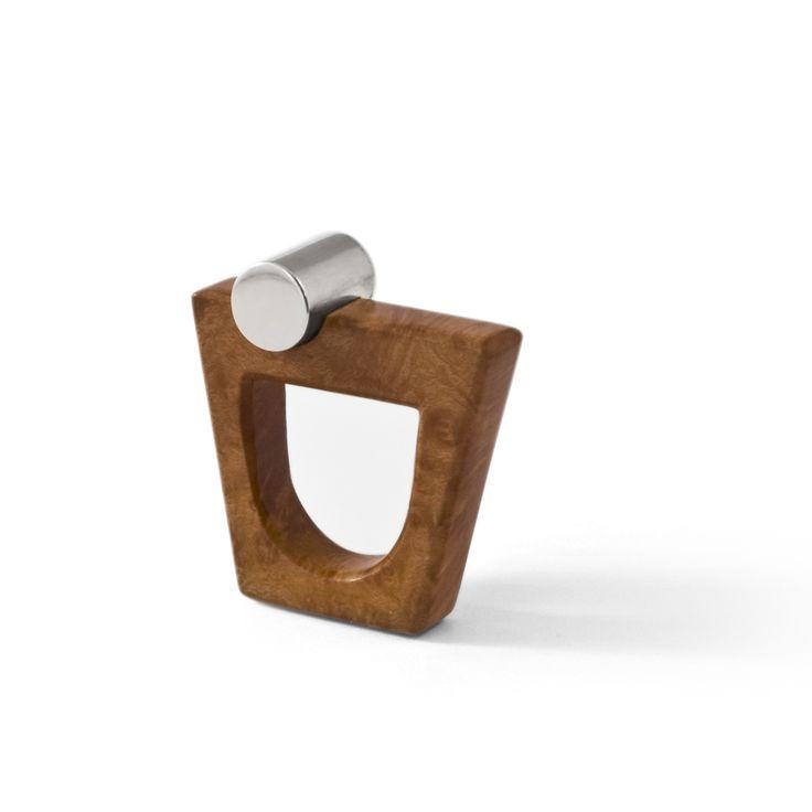 Hand made wooden ring with silver by Essenze Gioielli www.essenzegioiel...