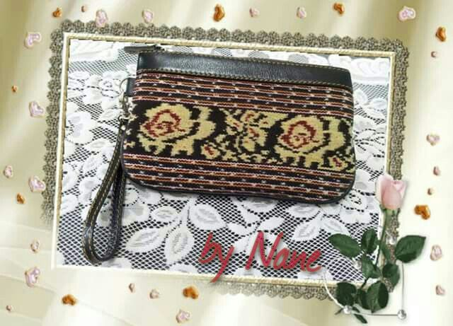 Wristlet ~ leather with Indonesia woven product