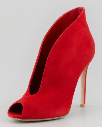 Suede Ankle-Flare Bootie, Red by Gianvito Rossi at Neiman Marcus. Swoon! NOT ready for fall, but these definitely help me get in the mood...