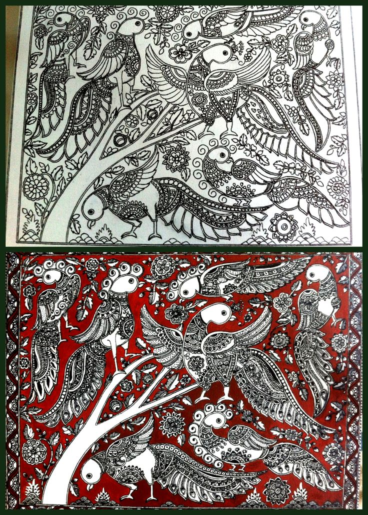Indian Folk Fusion - Kalamkari and Madhubani Painting on a hand-stretched canvas (above: work in progress, below : ready art piece)  Title : Birds of Eden