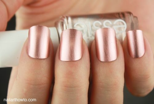 "Love this color...definitely going to try :) Essie ""Penny Talk"" is a rosie gold. Bridesmaid nail color"
