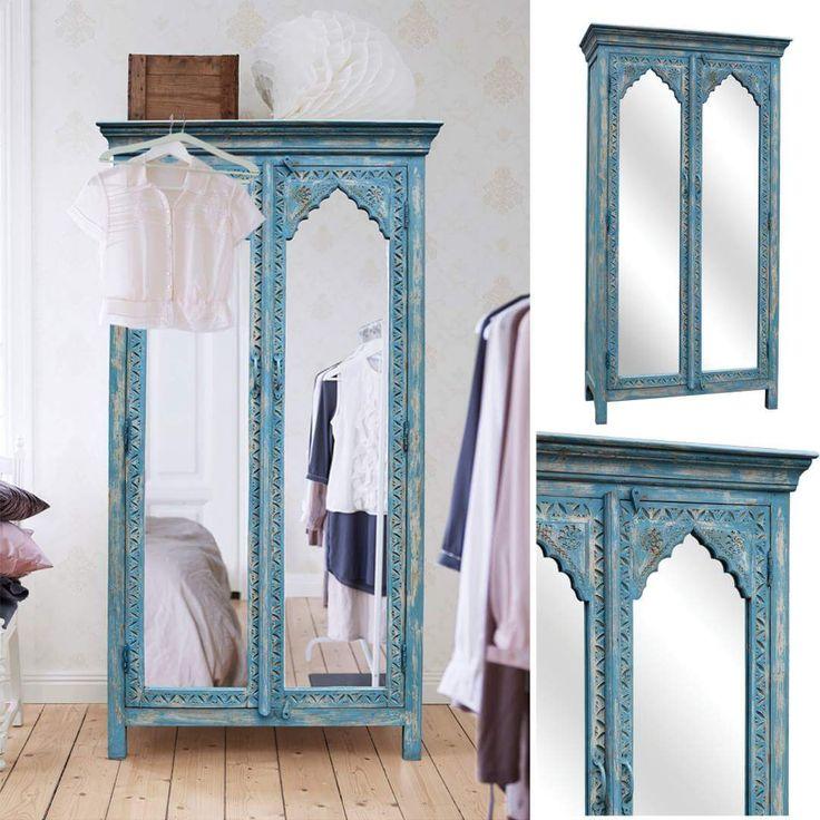 BLUE PALACE lustrzana szafa dla księżniczki ... z charakterkiem. Niebieska szafa do salonu lub do sypialnia w stylu orientalne. Zrobione z 100% litego drewna mango z indii. Meble kolonialne i kolorowe dają efekt jak indyjskie mieszkanie.