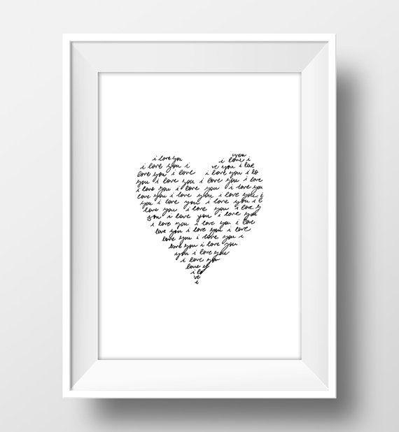 Ti amo ti amo scritta a mano cuore stampabile arte di EyMyPrint