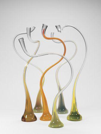 Gold and Green Implied Movement, Harvey K. Littleton, Spruce Pine, NC, United States, 1987. 2006.4.112. #corningmuseumofglass #cmog #glass #contemporary #sculpture #gold #green #studioglass