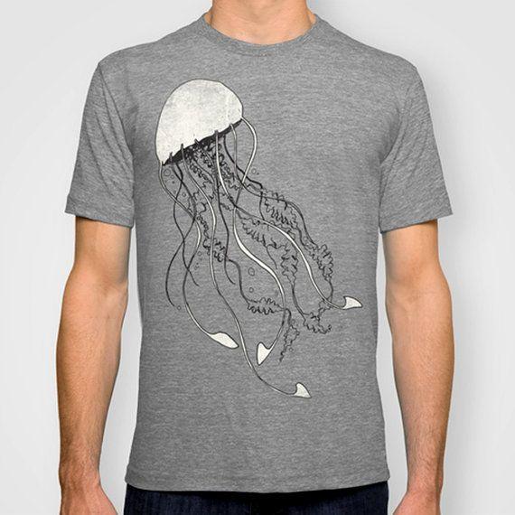 Jellyfish Tshirt Fish tshirt Nautical T shirt by SignalWhiskey