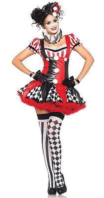 New-Cute-Ladies-JESTER-Clown-Circus-Fancy-Dress-HARLEQUIN-Halloween-Costume