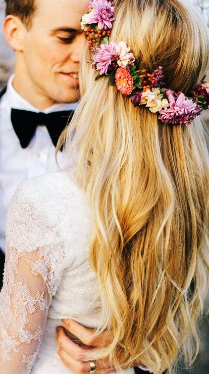 Beach bride's long down bridal hair ideas  Toni Kami Wedding Hairstyles ♥ ❷  flower crown corona halo