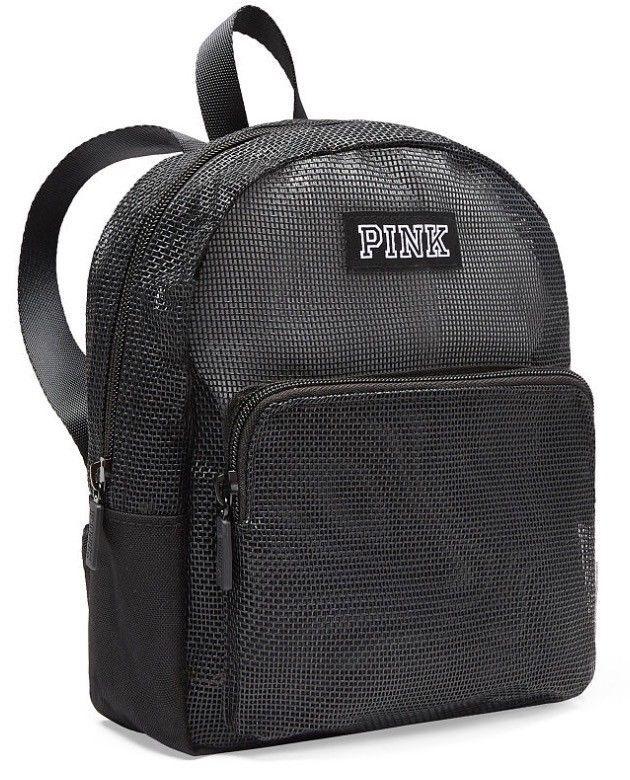 0ca6f34d718d7 NWT Victoria's Secret PINK Mesh Mini Backpack - Pure Black - FREE ...