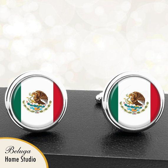 Mexican Flag Cufflinks Country of Mexico by BelugaHomeStudio