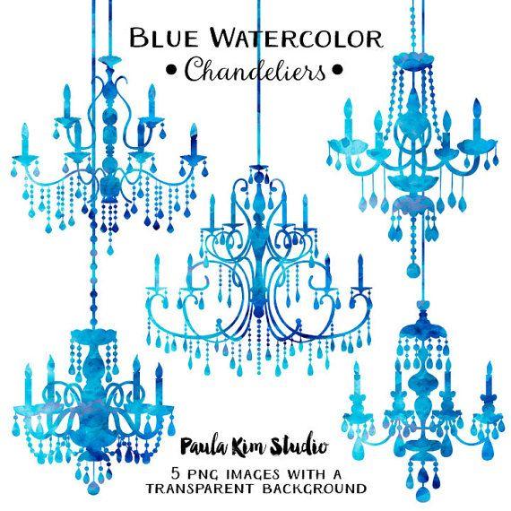 80% OFF SALE Blue Chandelier Watercolor Clipart by PaulaKimStudio