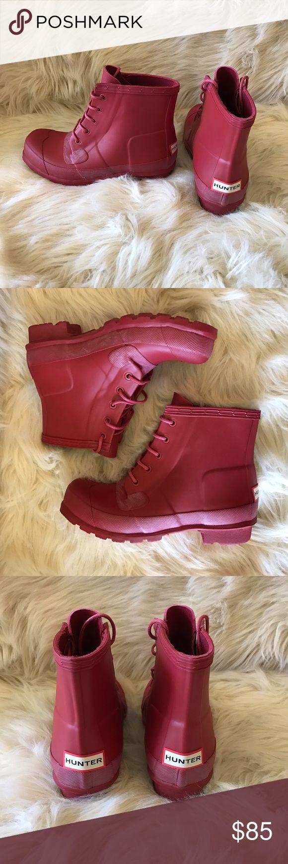 HUNTER Original Lace Up Rain Boots HUNTER Original Lace Up Rain Boots. Color: Military Red. Size 7. Brand new with box! Hunter Shoes Winter & Rain Boots