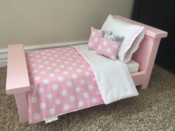 This fun 5 piece bedding set is reversible, and especially made to fit the Farmhouse bed. Although, this bedding can go on a variety of doll beds. The Farmhouse mattress is 11.25x19, so if you have a different bed, plan accordingly. The set comes with a reversible blanket, regular pillow, pillow case, and 2 throw pillows. Approximate Dimensions Blanket: 21 W x 22 L Pillow 7 x 10 Throw pillows 5 x 5   ** Bed and mattress are for display purposes only, and not included with the bedding…