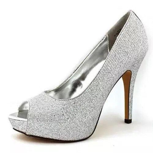 Best 25  Silver peep toe heels ideas on Pinterest | Satin wedding ...