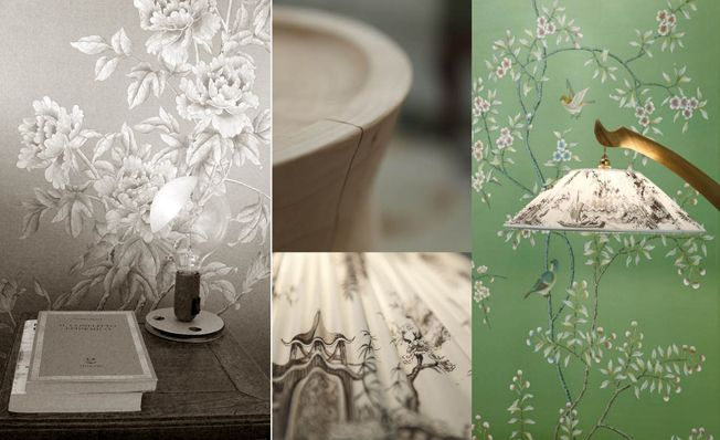 Modern chinoiserie 'Qing Dinasty Garden' design from Misha wallpaper, hand painted on Green Emerald silk.