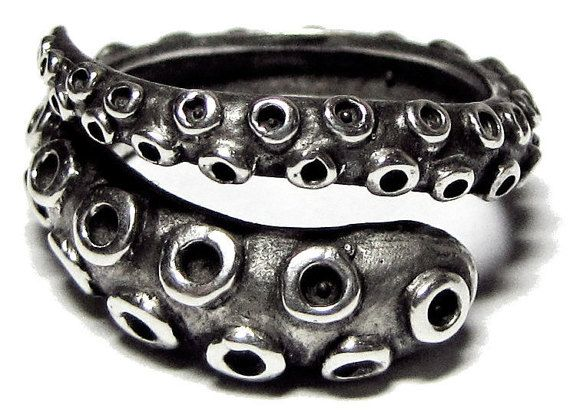 Octopus Tentacle Ring Antique Sterling Silver - Octopus Ring, Thumb Ring, Cthulhu Ring, Kraken, Pulpo, Poulpe, Tentacule, Tentaculo, Bague