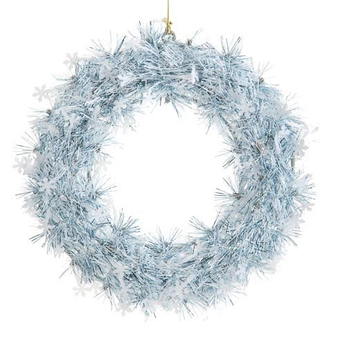 Silver and Blue Tinsel Wreaths | Poundland