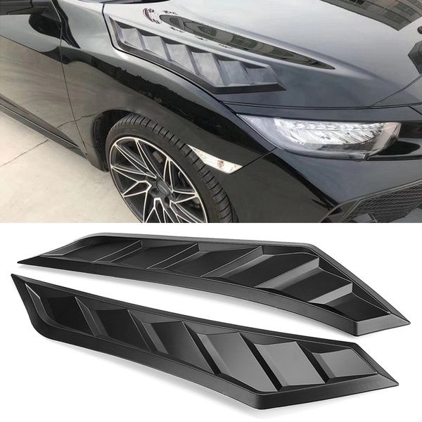 Hood Bonnet Long Side Louver Vent Decor For Honda Civic10th Gen Jdm 2016 2018 Honda Civic Hatchback Honda Civic Accessories Honda Civic
