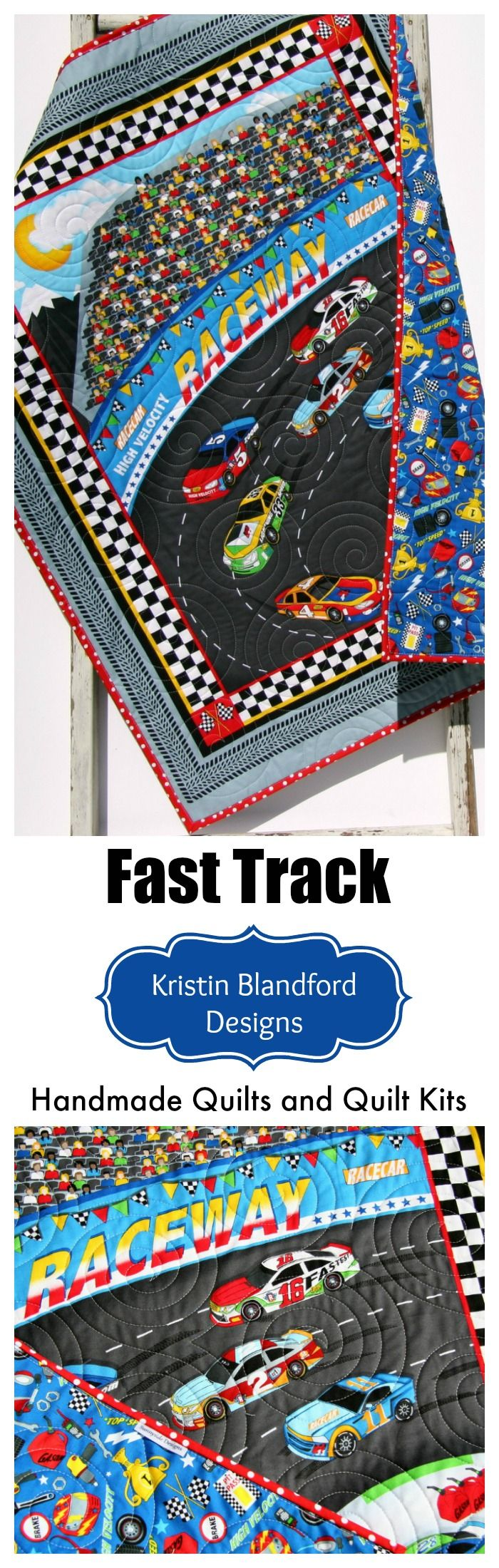 Race Car Handmade Quilt, Baby Quilt Kit, Baby Quilt for Sale, Raceway Race Track Baby Crib Bedding, Baby Quilts to Make, Baby Shower Gift Ideas, Fast Track Panel Quilt Kit, Simple Sewing Quilting Project DIY Craft Idea by Kristin Blandford Designs #handmadequilts #babyshowergift #racecars