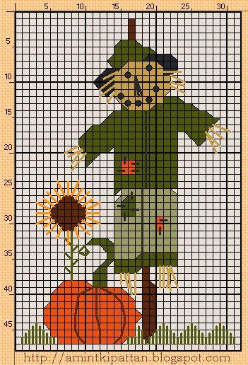 A napraforgó lazy daisy öltésekkel készült, a fű selyemöltéssel, a madárijesztő arca francia csomókkal.